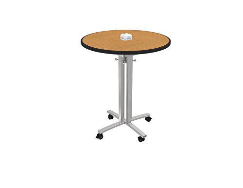 lton RELOAD Mobile Table with Usb Hub for Charging Mobile Devices, Oak Round Top W/ Silver Leg, 36