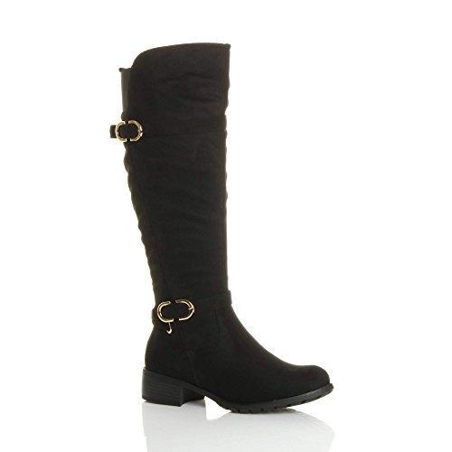 Ajvani Womens ladies low heel flat stretch wide calf zip buckle strap riding biker boots size Black Suede