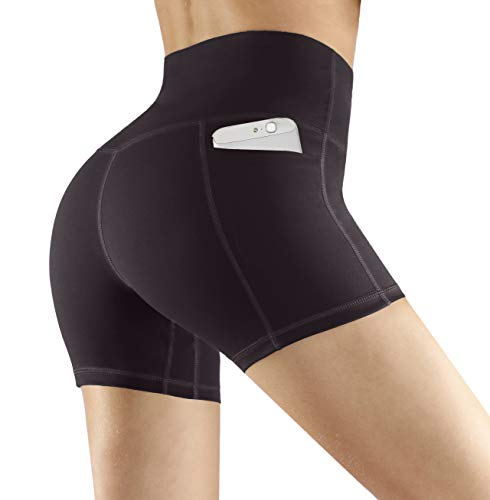Fengbay High Waist Yoga Shorts, Workout Running Shorts with Side Pockets Tummy Control Compression Shorts for Women Dark Grey