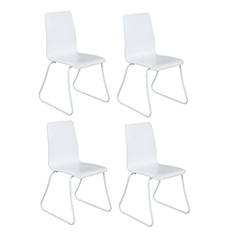 Design Furniture Collection DFC White Dining Side Chair Set of 4 - Modern Style Armless Kitchen Dining Room Chair Plastic with Metal (Plastic Chairs Set Of 4)