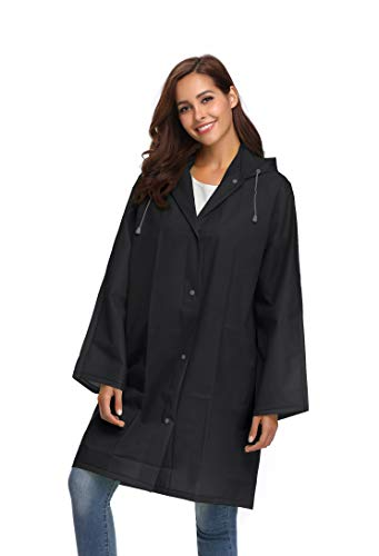 Avoogue Clear Coats for Women Environmental Protection Outdoor Adult Raincoat Black XL