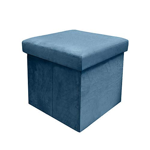 CC EFIND Folding Storage Chest Ottoman, Collapsible Cube Footstool Seat, Portable Blue Storage Stools Bench, Corner Square Ottoman Seat Versatile Cubes Foldable Faux Suede Chest Space-Saving Ottoman
