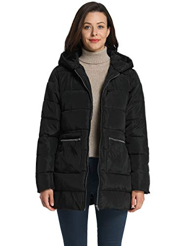 iLoveSIA Women's Down Quilted Padded Thicken Puffer Coat with Hood Black G2 Size 08