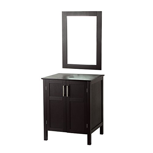 AECOJOY Bathroom Cabinet with Mirror, Espresso Wood Vanity Units, Morden Sink Stand Pedestal - Mirror Unit