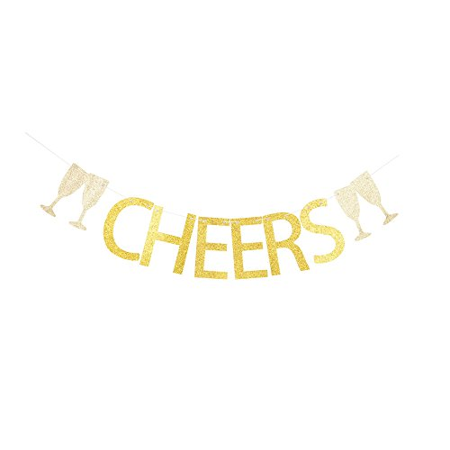 Cheers Banner, Gold Gliter Celebrating Party Paper Sign for Birthday, Graduation, Engagement, Wedding, Anniversary, Retirement, Christmas and New Year Party -