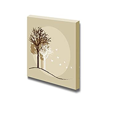 Canvas Prints Wall Art - Tree Silhouettes Illustration - 12