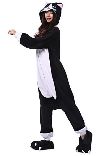 negro para Unisex Gato Mono Pijamas animal Cosplay de adultos Traje Owqz4C