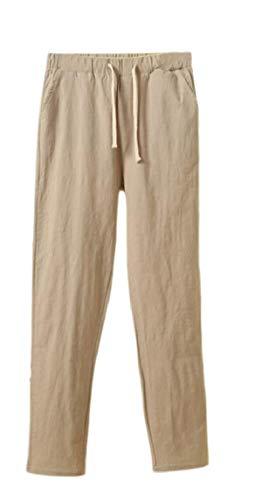 Mujeres Harem Cintura Elastica Straight Leg Concisa, Ropa de Cama de algodón Casual Pantalones de sólidos 4 M