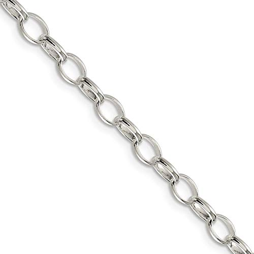 - 5mm, Sterling Silver Oval Solid Rolo Chain Necklace, 20 Inch