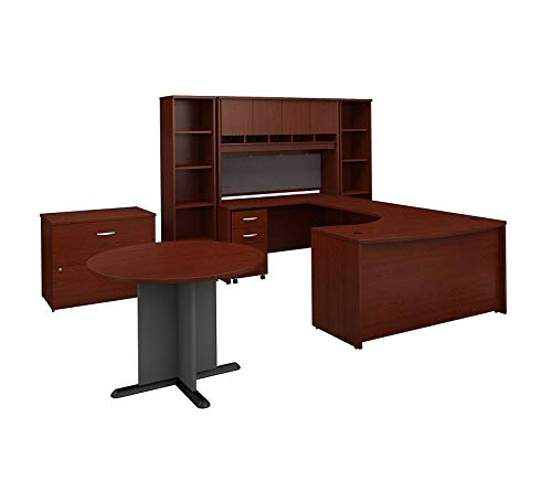 Wood & Style Furniture 60W Right Handed Bow Front U Shaped Desk with Storage and Conference Table in Mahogany Premium Office Home Durable - Bow Lateral Right File