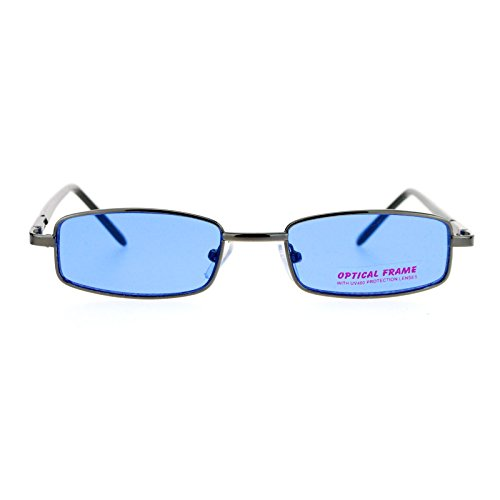 SA106 Small Mens Rectangular Metal Rim Classic Color Lens Sunglasses Gunmetal - Color Blue Gunmetal