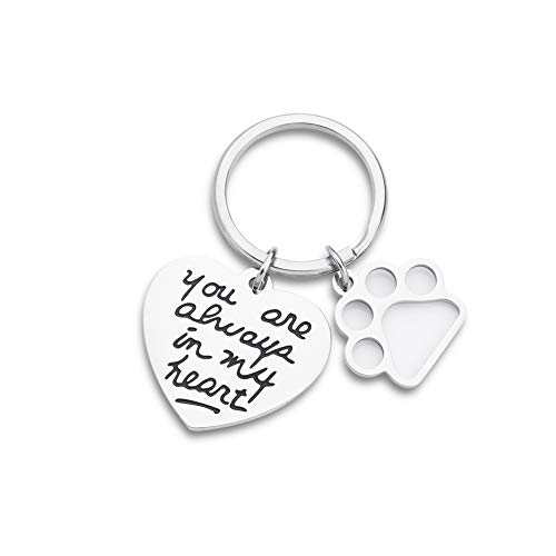EUNIGEM Pet Dog Memorial Keychain, Loss of Dog Gift,Remembrance Gift,Pet Sympathy Gift, Mourning Jewelry,Personalized You are Always in My Heart Pet Charm Keyring Pendant
