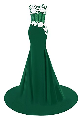 Donna Promenade Da Sirena Bordato Vestiti Sera Di Da Verde Scuro I Sposa Appliques Bess PqA5TUx8
