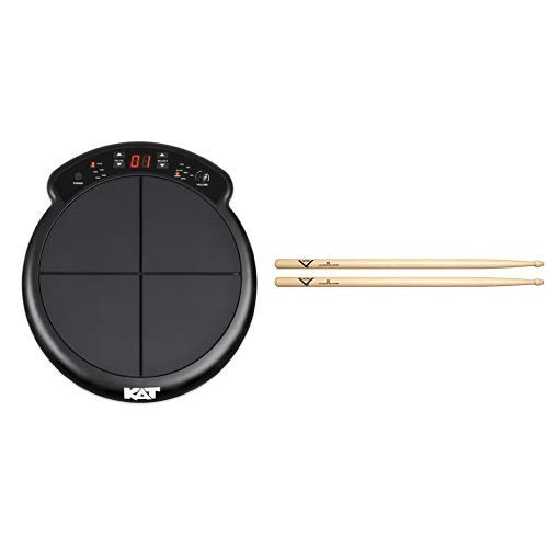 Kat Percussion KTMP1 Electronic Drum and Percussion Pad Sound Module with Vater 5B Wood Tip Hickory Drum Sticks, Pair by KAT Percussion