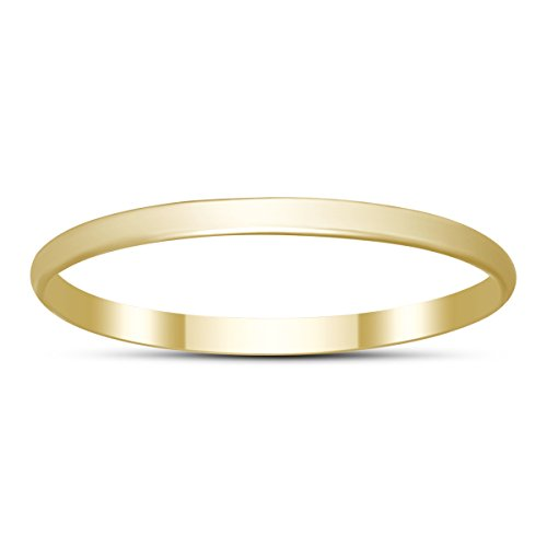Skinny Thin Domed Stackable 14K Yellow Gold Band (1mm) 14k Yellow Gold Thin