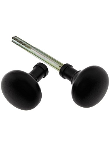 House of Antique Hardware R-01DE-153-MB - One Pair of Small Cast Iron Colonial Door Knobs in Matte Black