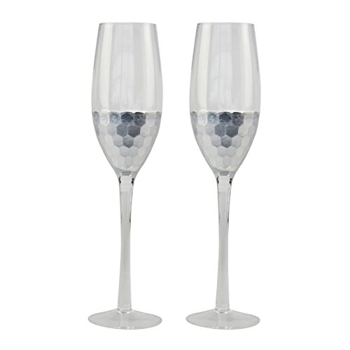 Top Shelf Decorative Hammered Silver Champagne Glasses, Bride & Groom Champagne Flutes, Thoughtful Gift Idea For Weddings, Birthdays, Christmas, or Any Occasion, Set of 2 (Hand Painted Champagne Flutes)