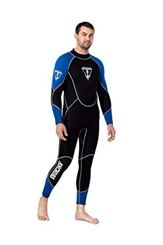 Anchora Wetsuit Men's Flexible Premium CR Neopren 3mm, Scuba Diving Full Wetsuit Men (Black) Long-Sleeve Body Protection | Water Sports Snorkeling Swimming | YKK Zippers | Glow-in-The-Dark Logos (L) ()