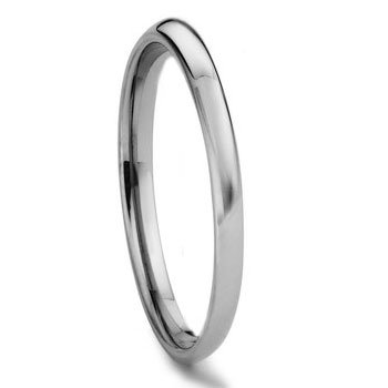 Tungsten Metal 2MM Plain Dome Wedding Band Ring Sz (Artcarved Wedding Bands Tungsten Ring)