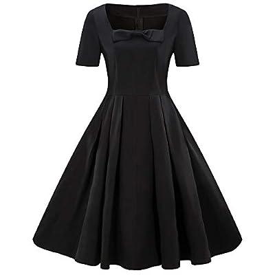 LISTHA Vintage Retro Bow Short Sleeve Dress Plus Size Women Party Mini Dress