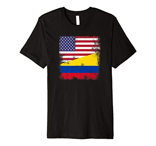 (Half Colombian Flag T-Shirt | Vintage Colomobia USA Gift)
