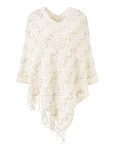 - Ferand Women's Asymmetrical Chevron Stripe Poncho Sweater with Fringed Hem, One Size, Beige