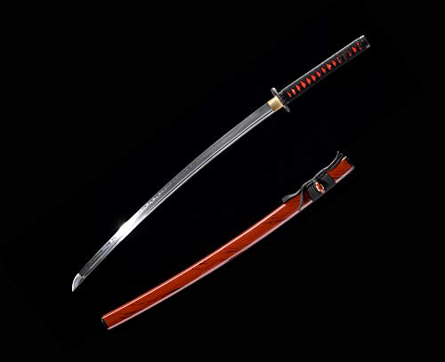 xinan2018 Samurai Katana Japanese Full Tang Carbon Steel Sword 1060 T10 Battle Ready Cold Real Handmade Damascus Heat Tempered  Sharp Knife