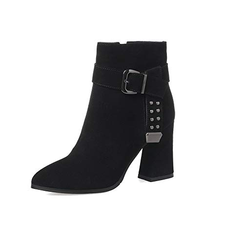 BalaMasa Womens Dress Bucket-Style Solid Black Urethane Boots ABM13098-5 B(M) US