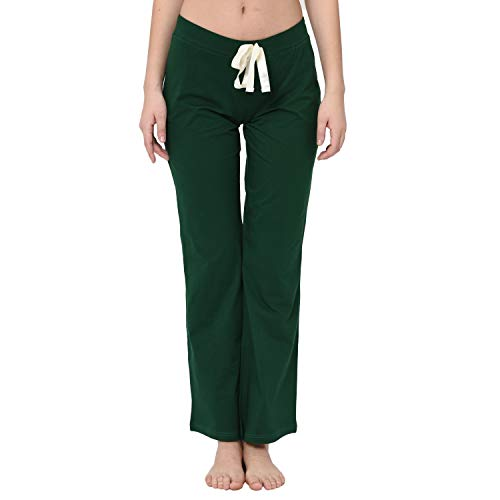 VDRNY Comfy Stretch Solid Flared Pajama Pants for Women Pajamas/Sleepwear (Bottle Green, Small) ()