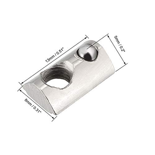 Roll Ball Elastic Nuts for 2020 Series Aluminum Extrusion Profile Pack of 12 Roll-in Spring M5 T Nut