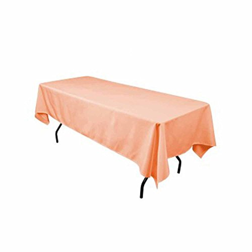 Polyester Tablecloth Peach (Rectangular Polyester Tablecloth 60x90 Inches By Runner Linens Factory (Peach))