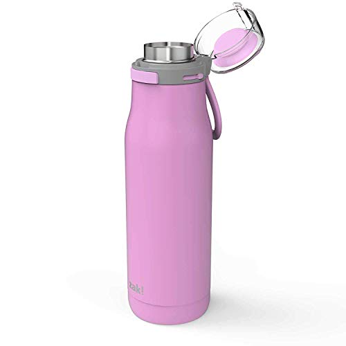 Stainless Steel Double Loop - Zak Designs Kiona Double Wall Vacuum Insulated Stainless Steel Water Bottle with Push Button Action and Locking Lid, Includes Portable Carry Loop and Leak-Proof Design (20oz, Lilac, 18/8, BPA Free)