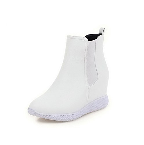 AmoonyFashion Womens Pull-On High-Heels PU Solid Low-Top Boots White zrJJN85Wm