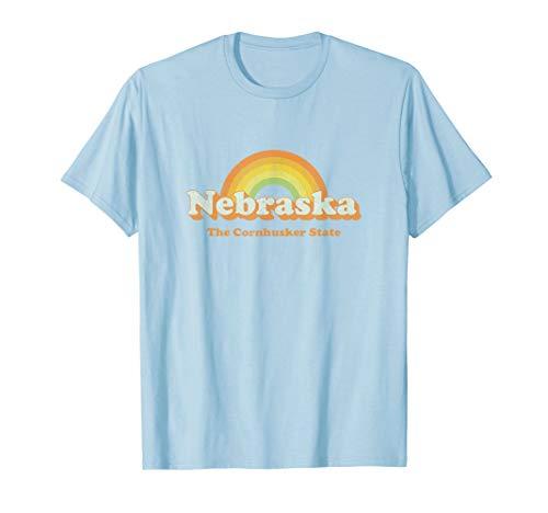 Retro Nebraska T Shirt Vintage 70s Rainbow Tee ()