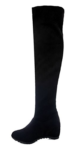 Women The Above AgeeMi High Solid Shoes Heels Black Boots Toe Suede Round Knee Closed qqzv5rSw