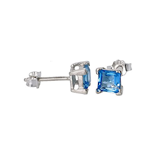 December Birthstone, Natural Blue Topaz 3/4 Carat Size Princess Cut Square Stud earring