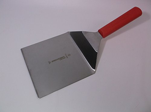 S287-6 1/2 Red Handle Dexter Russell 'Shovel' Steel spatula - Works perfectly has a 6X6.5 inch blade and a Red Sani-safe handle - very rare size and style - Solid Grill Turner Pancake/flapjack Flipper