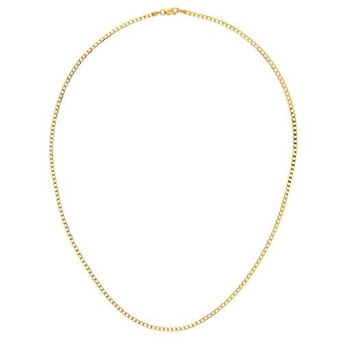 Revoni Bague en or jaune 9carats-3,5g-Collier Femme-Maille Gourmette, longueur 51cm/50,8cm, Largeur 2,3mm