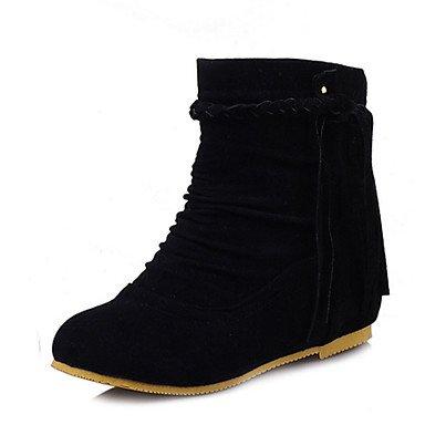 Botas de Mujer Otoño Invierno Comfort polipiel vestir casual talón plano Borla marrón oscuro gritoOw negro beige Black