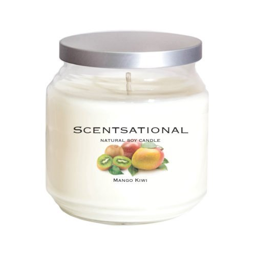 Scentsational Natural Soy Candle Luscious Tropical Mango Kiwi Fragrance in Jar with Lid, 19 oz. ()