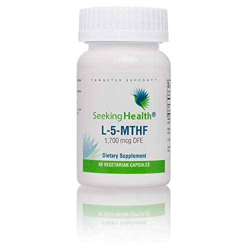 Seeking Health L-5-MTHF | 60 Capsules | Methylation Support Supplement | Pure, Non-Racemic Form of L-Methylfolate | 1,700 mcg DFE (1,000 mcg) of L-methylfolate | MTHFR Supplement