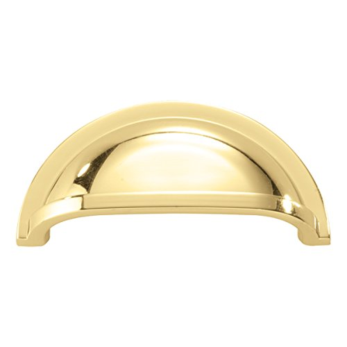 (Hickory Hardware P3055-PB-10B Williamsburg Collection Cup Pull 3 Inch Hole Center, Polished Brass, 10 Each)