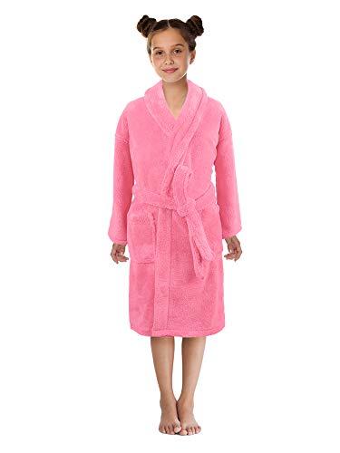 - Boys and Girls Plush Shawl Robe Super Soft Fleece Bathrobe Made in Turkey Pink, Medium
