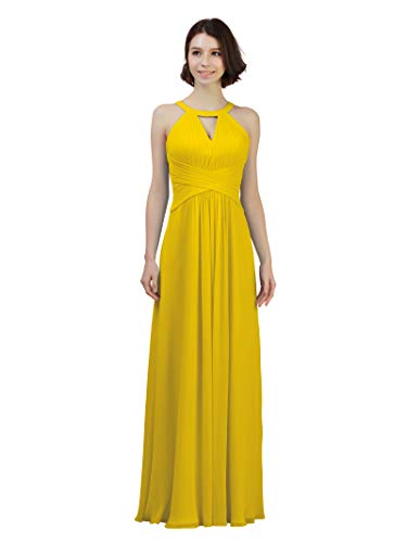 Alicepub Keyhole Bridesmaid Dress Long Formal Evening Prom Gown for Wedding Maxi, Mustard Yellow, ()