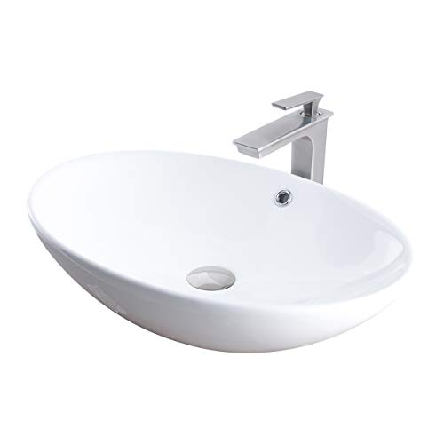 Novatto NSFC-V07W368BN Ceramic Above Counter Oval Bathroom Sink with Brushed Nickel Faucet, Drain and Sealer Sink, 24.75'' L x 17'' W x 5.75'' H, Glossy White