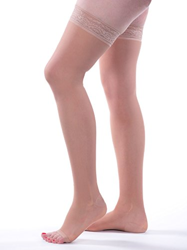 Allegro 15-20mmHg Essential 5 Sheer Support Thigh High Open Toe Compression Hose