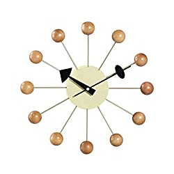 SLOUD Wall Clock Simple Colorful Ball Modern Clock Decorative Candy Mixed Color Bedroom, Dining Room, Studio, Living Room, Corridor, Study, etc.-Wood Color