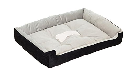 Spring Fever Textiles Rectangle Hairy Deluxe Crate Mat Easy Washable Pet Bed Black XS(20156 inch)