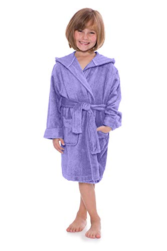Kid's Hooded Terry Cloth Bathrobe - Cozy Robe by for Kids Texere (Rub-A-Dub, Violet Tulip, Small) Popular Gifts for Grandkids KB0101-VTP-S]()