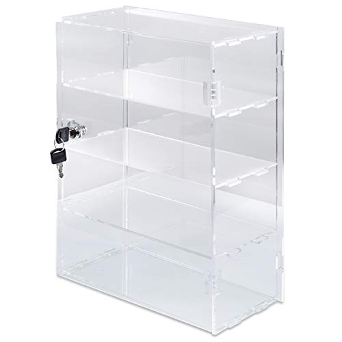 "BestEquip 4 Tier Acrylic Display Case 12"" x 12"" x 19"" Clear Display Case with Lock and 2 Keys Retail Display Cases for Cakes Donuts Cupcakes and Jewelry"
